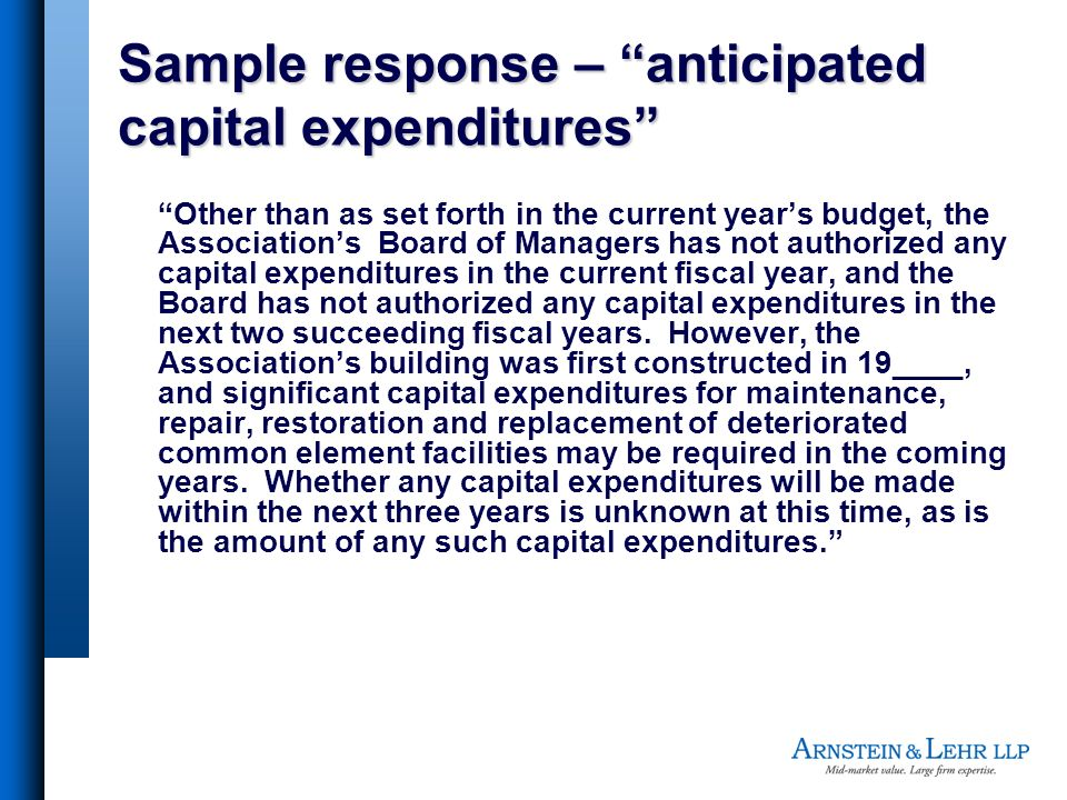Sample response – anticipated capital expenditures