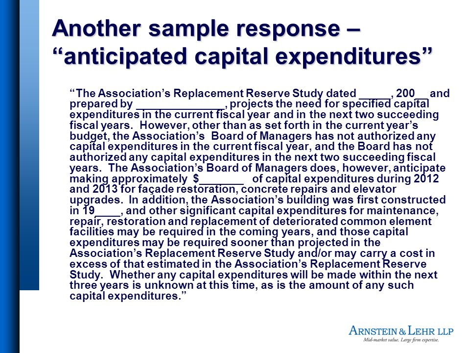 Another sample response – anticipated capital expenditures