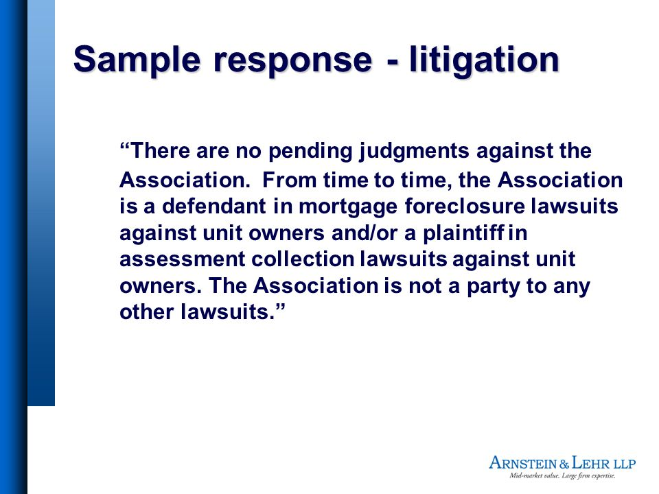 Sample response - litigation