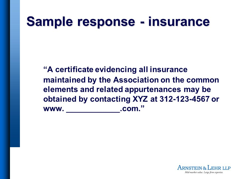 Sample response - insurance