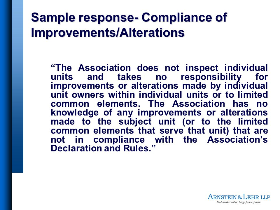Sample response- Compliance of Improvements/Alterations