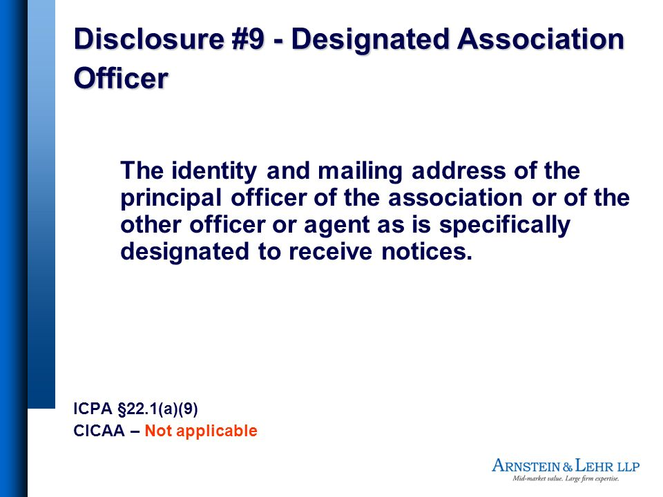 Disclosure #9 - Designated Association Officer