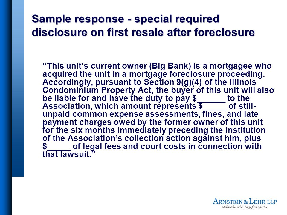 Sample response - special required disclosure on first resale after foreclosure