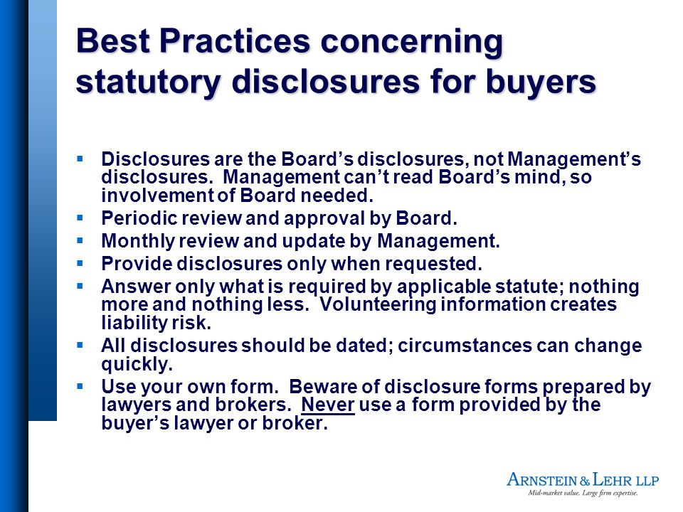 Best Practices concerning statutory disclosures for buyers