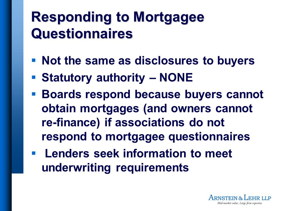 Responding to Mortgagee Questionnaires
