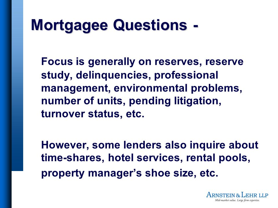 Mortgagee Questions -