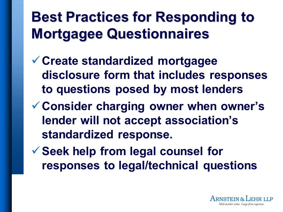 Best Practices for Responding to Mortgagee Questionnaires