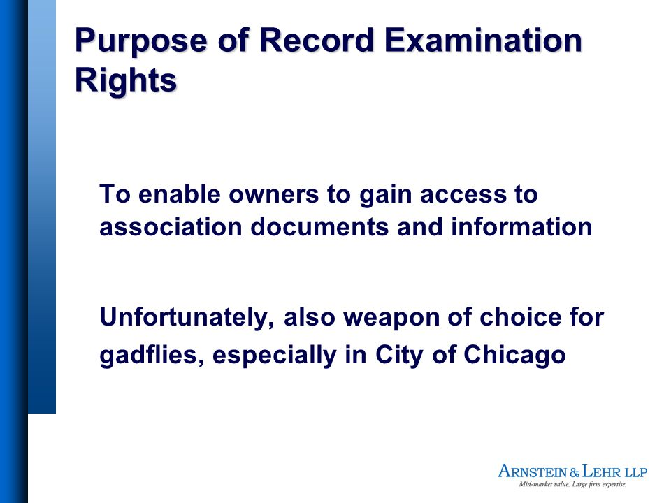 Purpose of Record Examination Rights