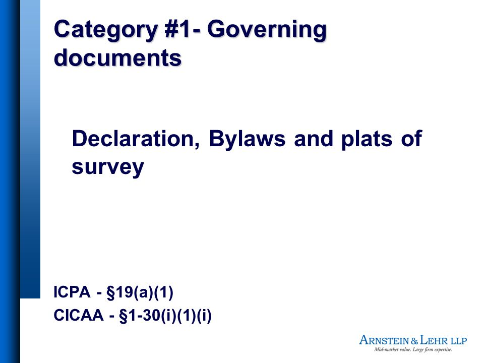 Category #1- Governing documents
