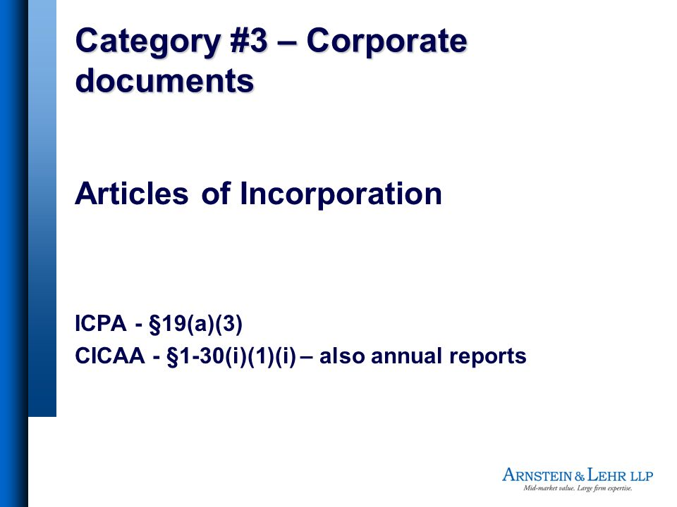Category #3 – Corporate documents