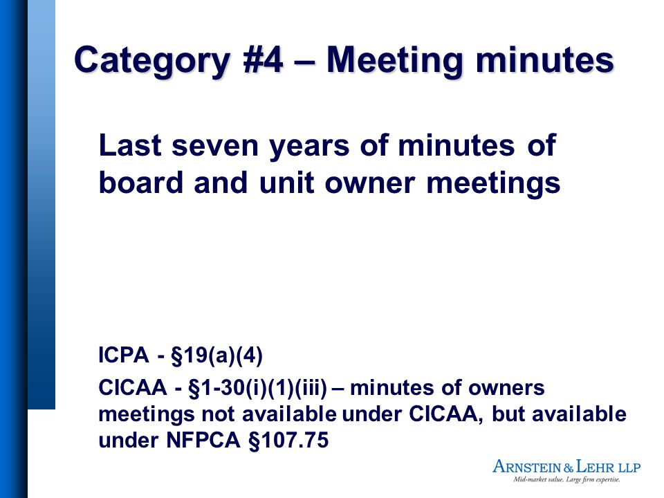 Category #4 – Meeting minutes