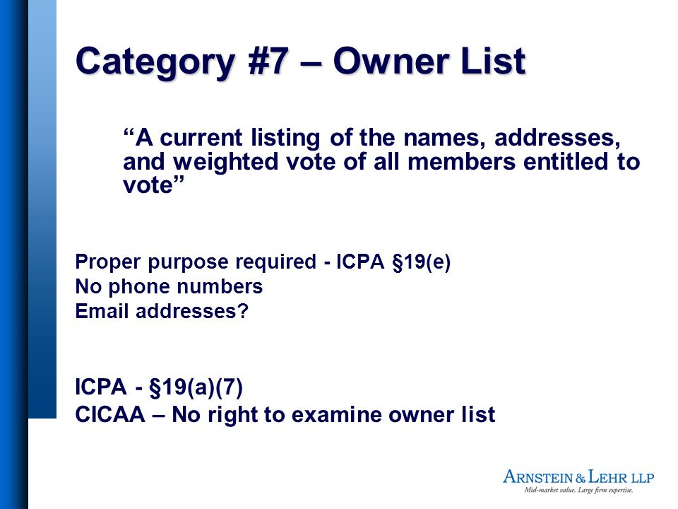 Category #7 – Owner List A current listing of the names, addresses, and weighted vote of all members entitled to vote