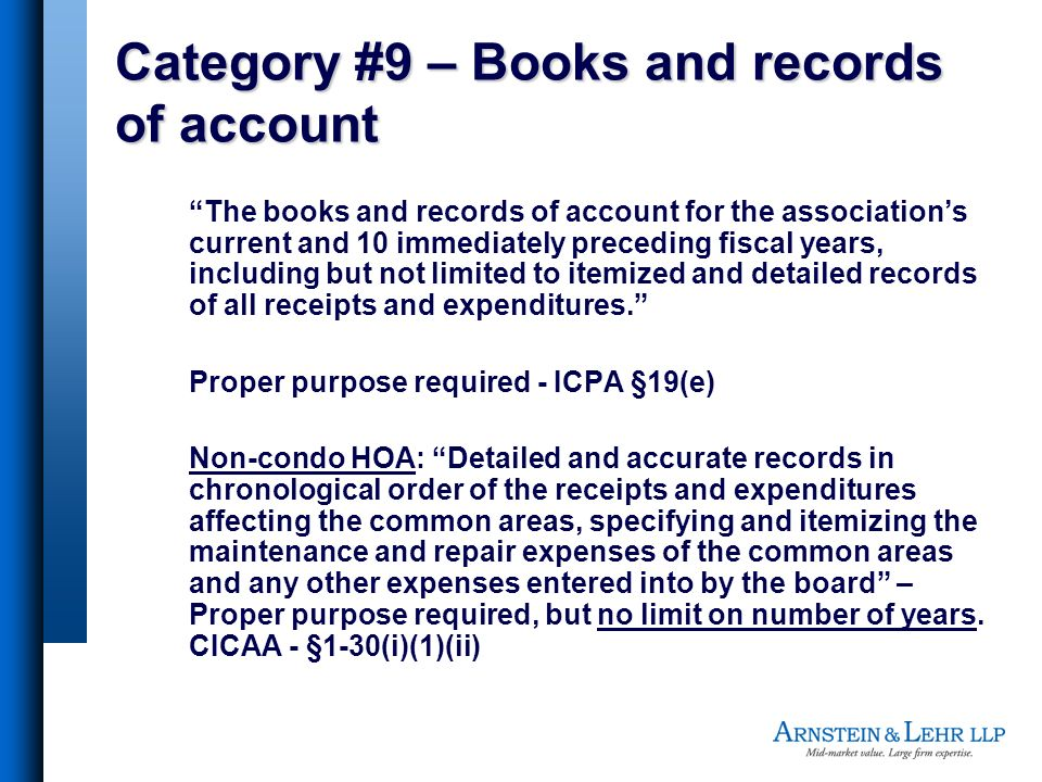 Category #9 – Books and records of account