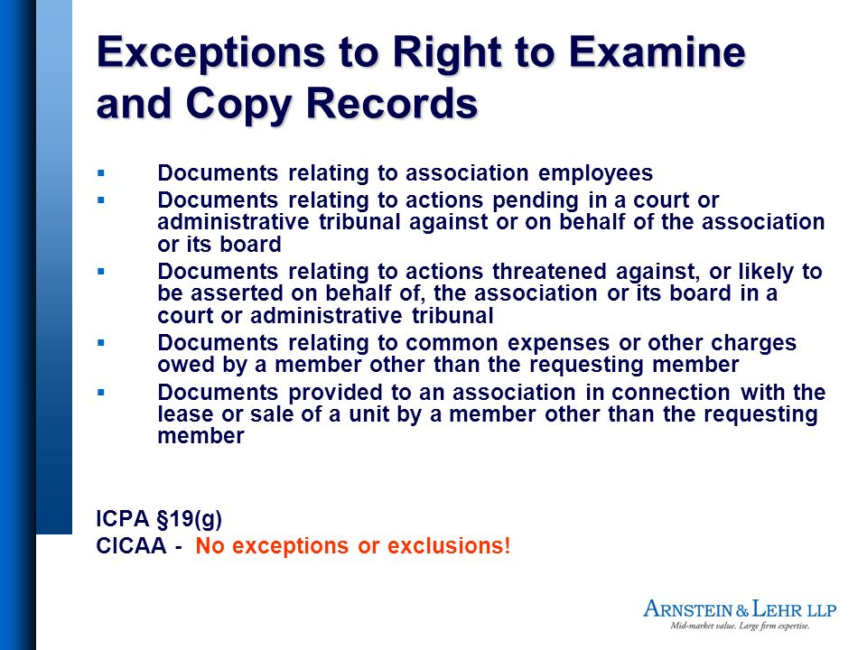 Exceptions to Right to Examine and Copy Records