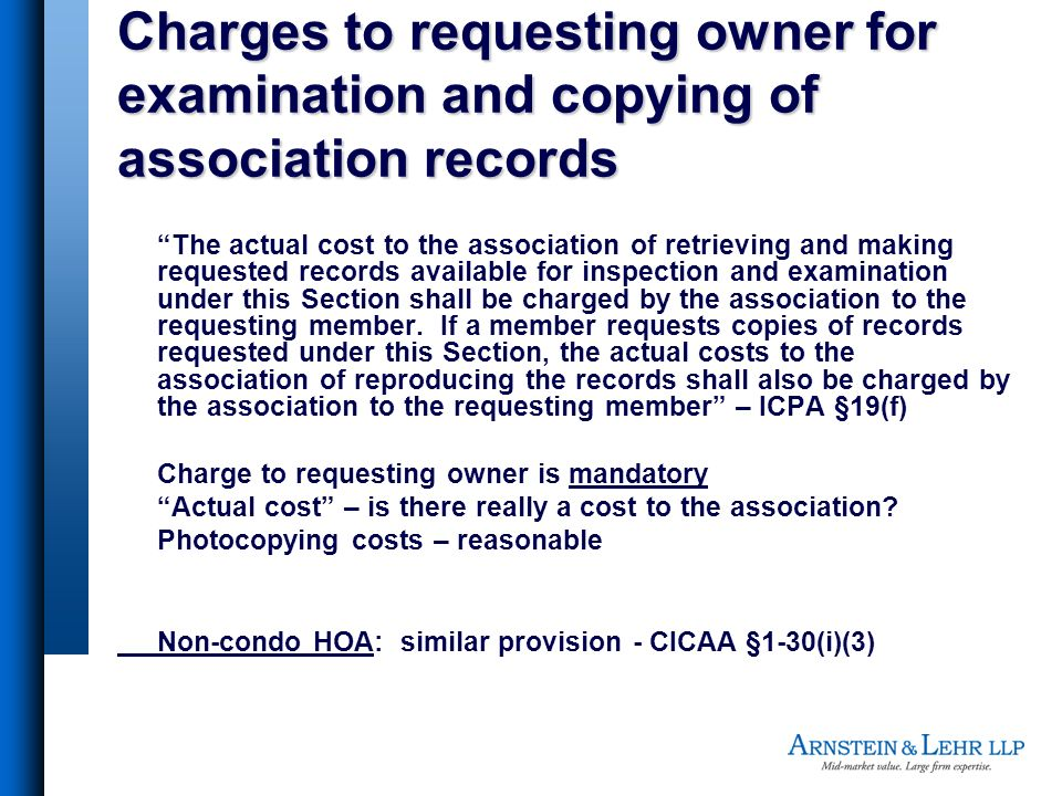 Charges to requesting owner for examination and copying of association records