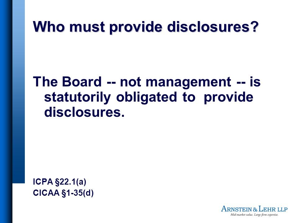 Who must provide disclosures