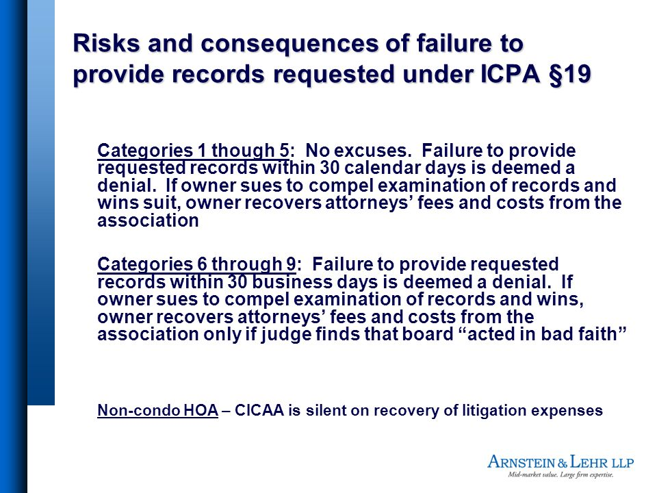 Risks and consequences of failure to provide records requested under ICPA §19