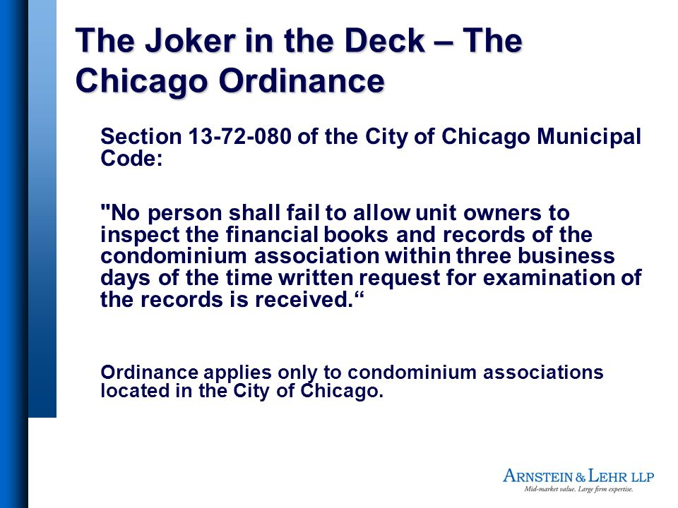 The Joker in the Deck – The Chicago Ordinance