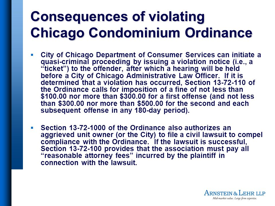Consequences of violating Chicago Condominium Ordinance