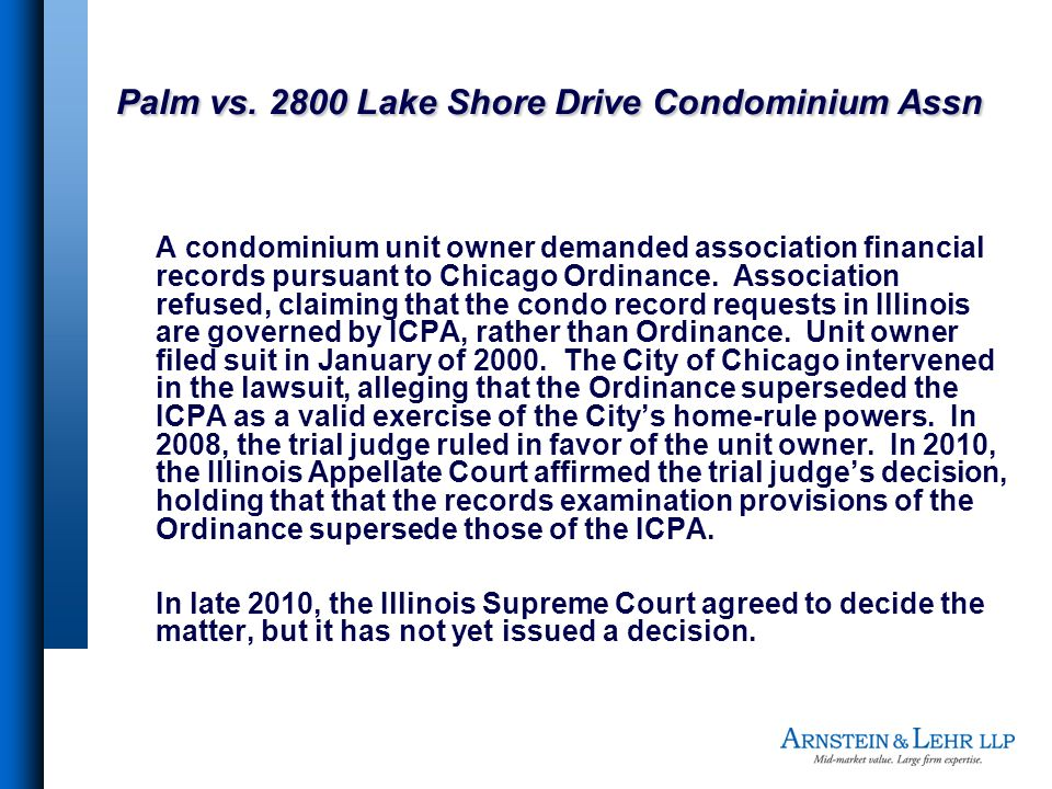 Palm vs. 2800 Lake Shore Drive Condominium Assn