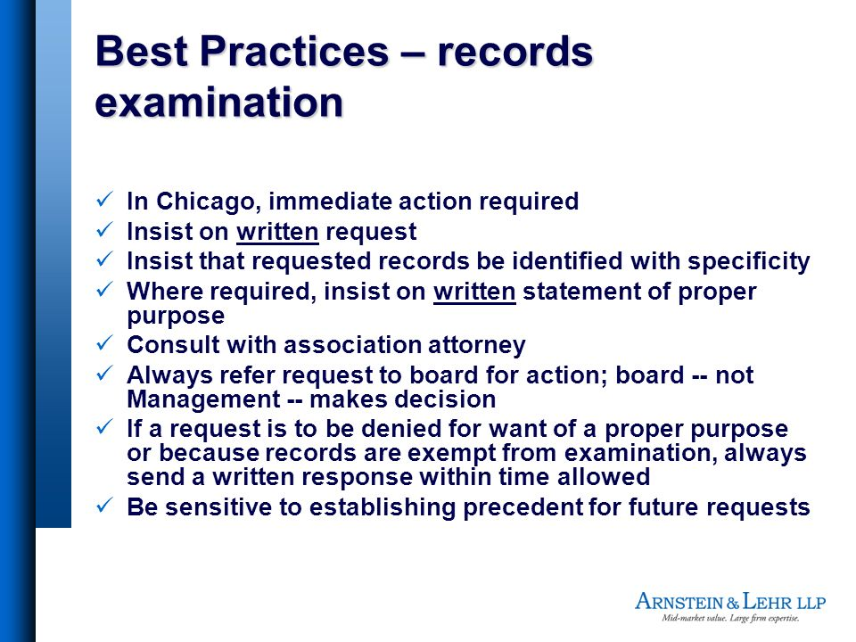 Best Practices – records examination
