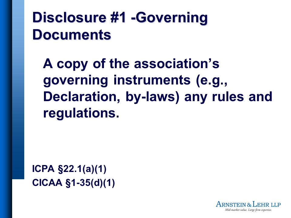 Disclosure #1 -Governing Documents