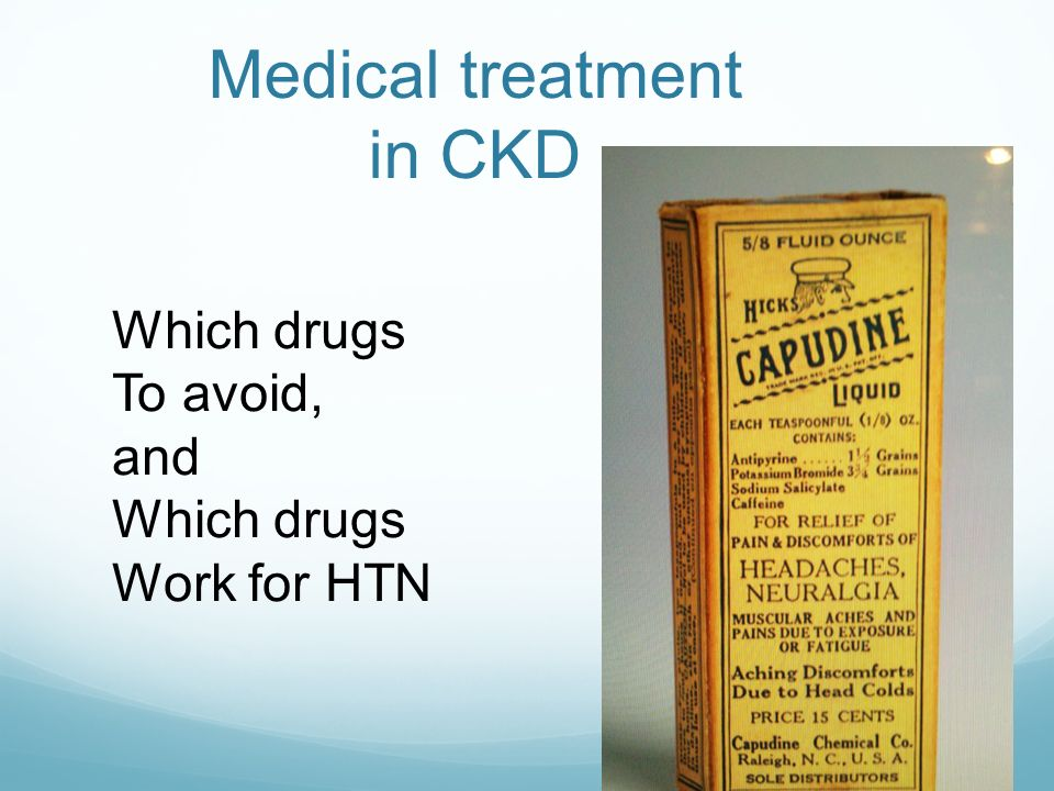Medical treatment in CKD