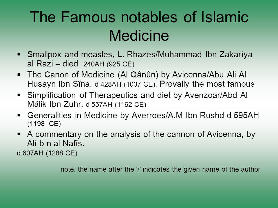 The Famous notables of Islamic Medicine