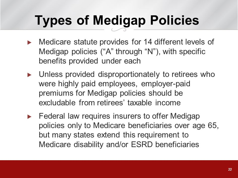 Types of Medigap Policies