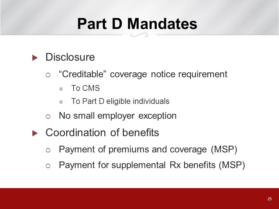 Part D Mandates Disclosure Coordination of benefits