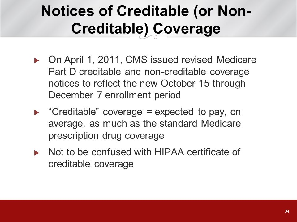 Notices of Creditable (or Non-Creditable) Coverage
