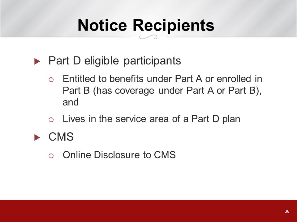 Notice Recipients Part D eligible participants CMS