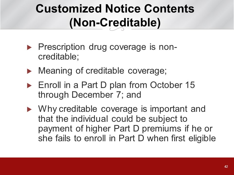 Customized Notice Contents (Non-Creditable)