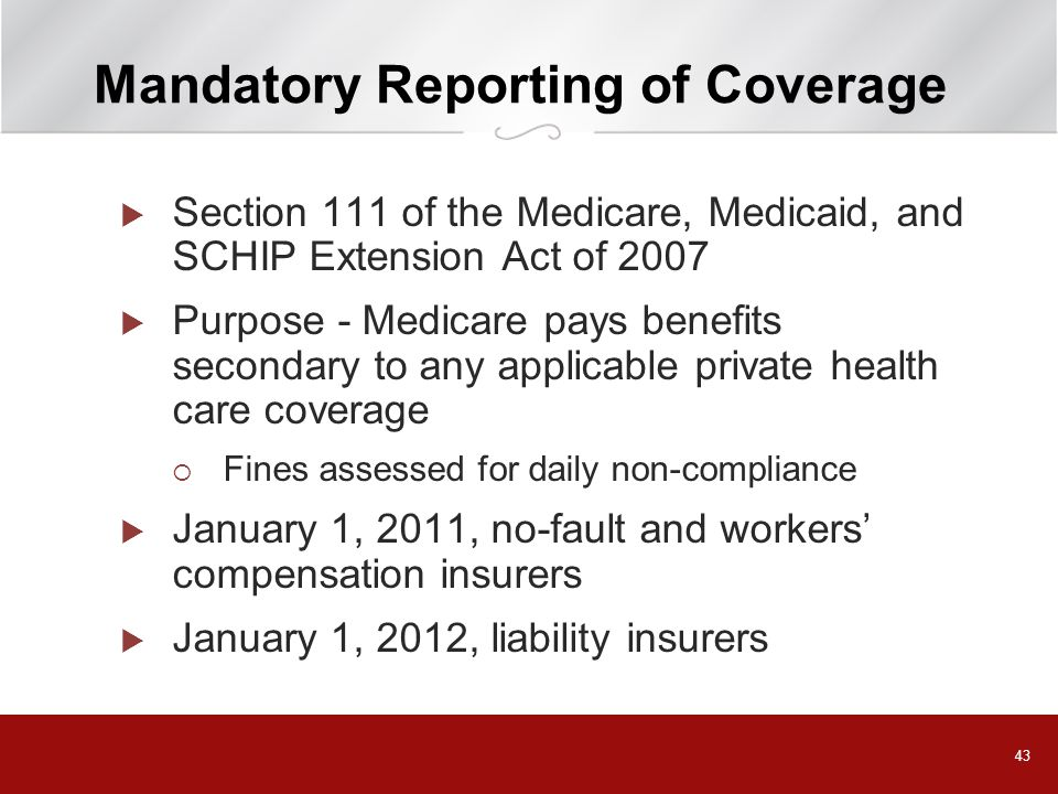 Mandatory Reporting of Coverage