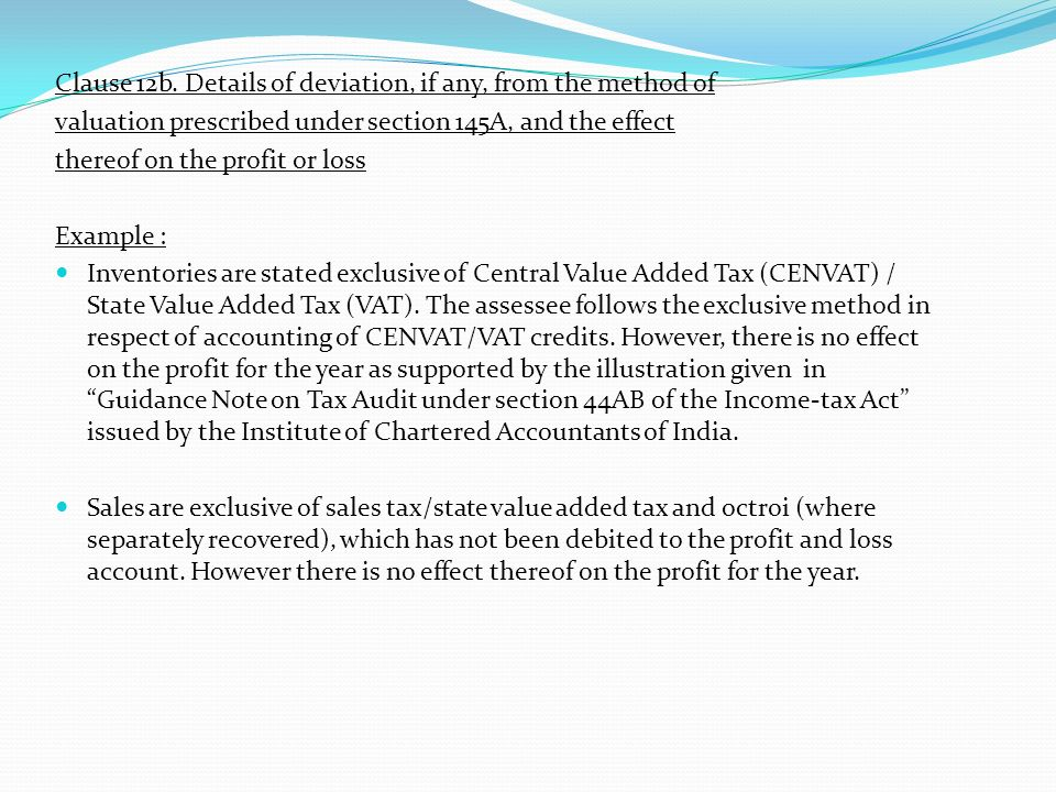 Clause 12b. Details of deviation, if any, from the method of