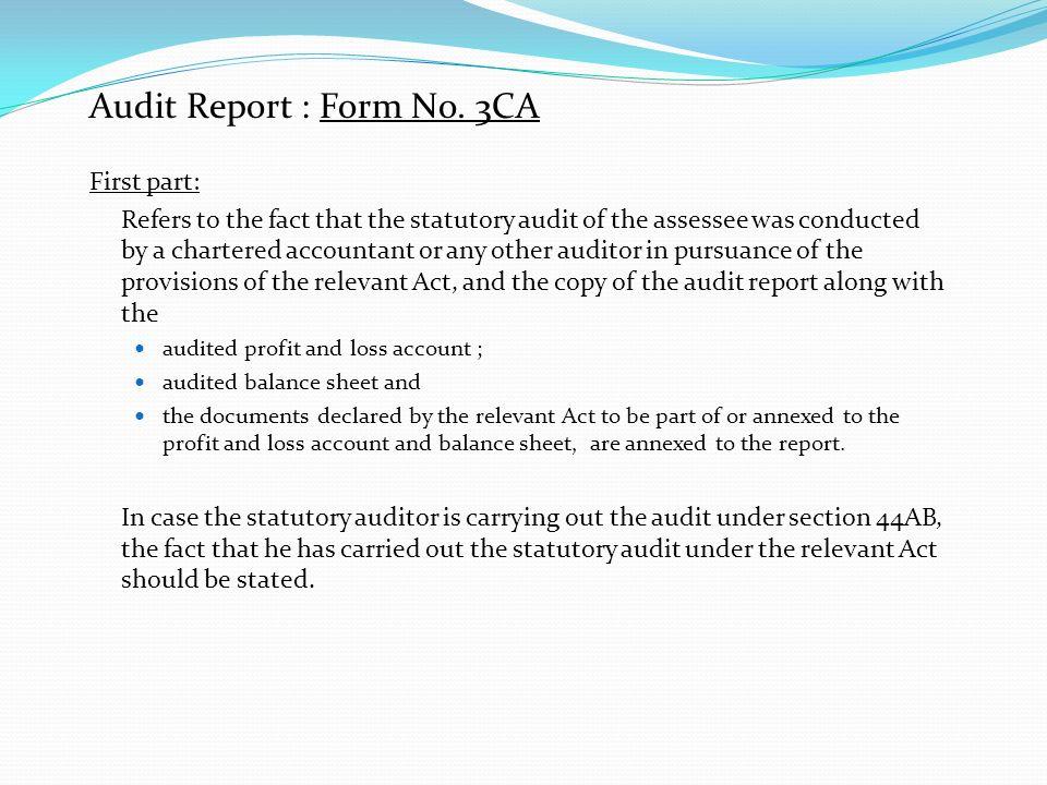 Audit Report : Form No. 3CA