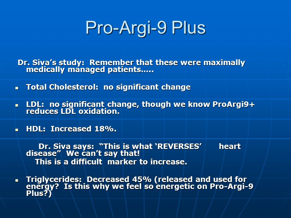Pro-Argi-9 PlusDr. Siva's study: Remember that these were maximally medically managed patients….. Total Cholesterol: no significant change.