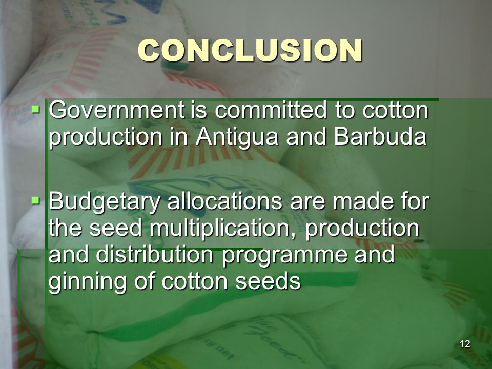 CONCLUSION Government is committed to cotton production in Antigua and Barbuda.