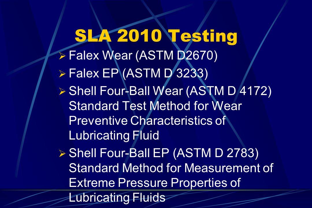 SLA 2010 Testing Falex Wear (ASTM D2670) Falex EP (ASTM D 3233)