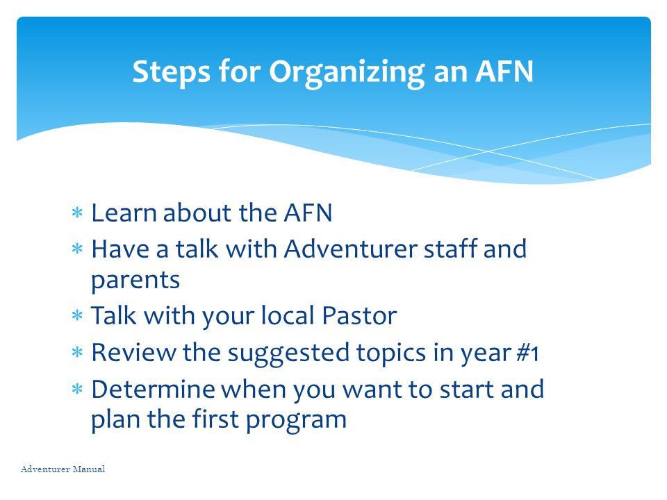 Steps for Organizing an AFN