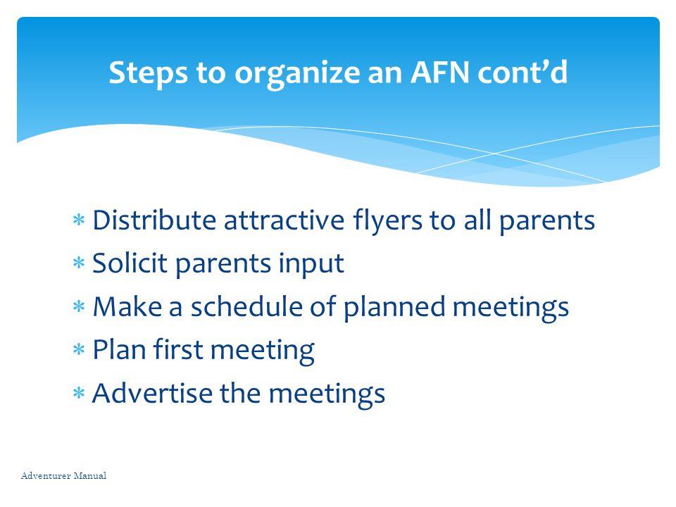 Steps to organize an AFN cont'd