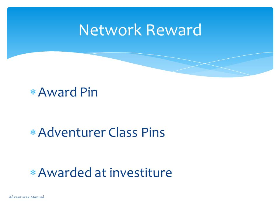 Network Reward Award Pin Adventurer Class Pins Awarded at investiture