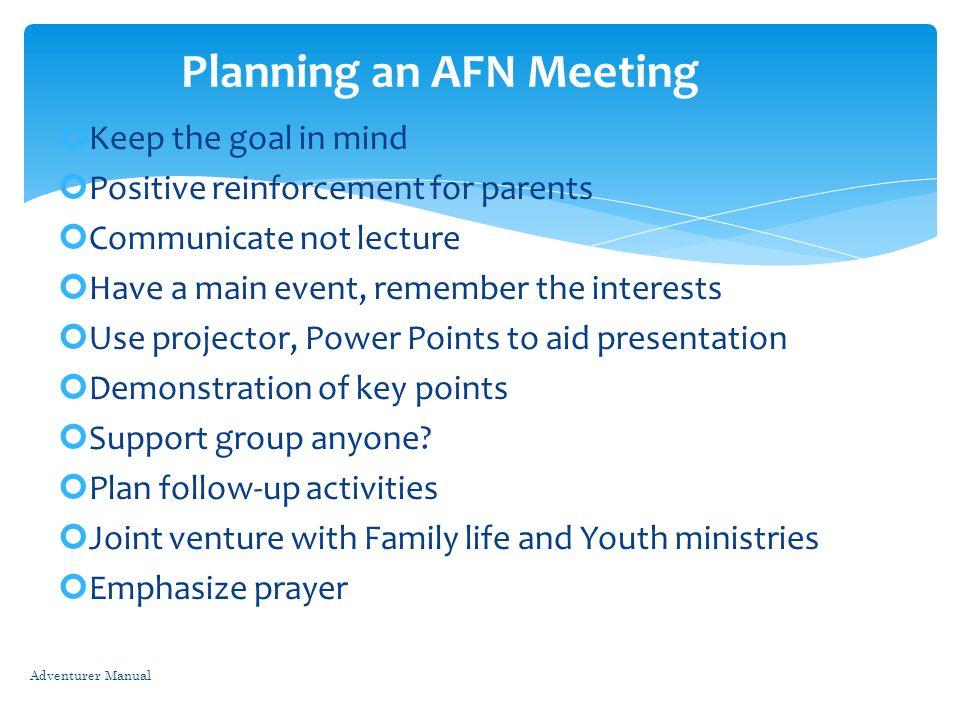 Planning an AFN Meeting