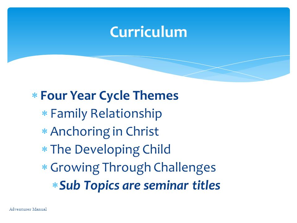 Curriculum Four Year Cycle Themes Family Relationship