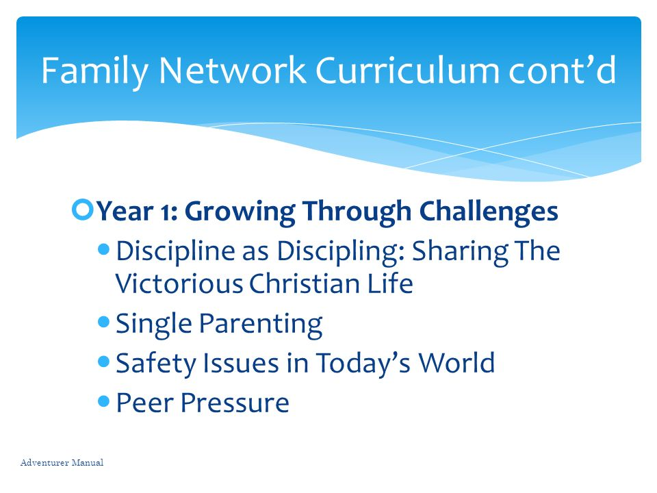 Family Network Curriculum cont'd