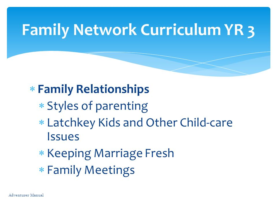 Family Network Curriculum YR 3