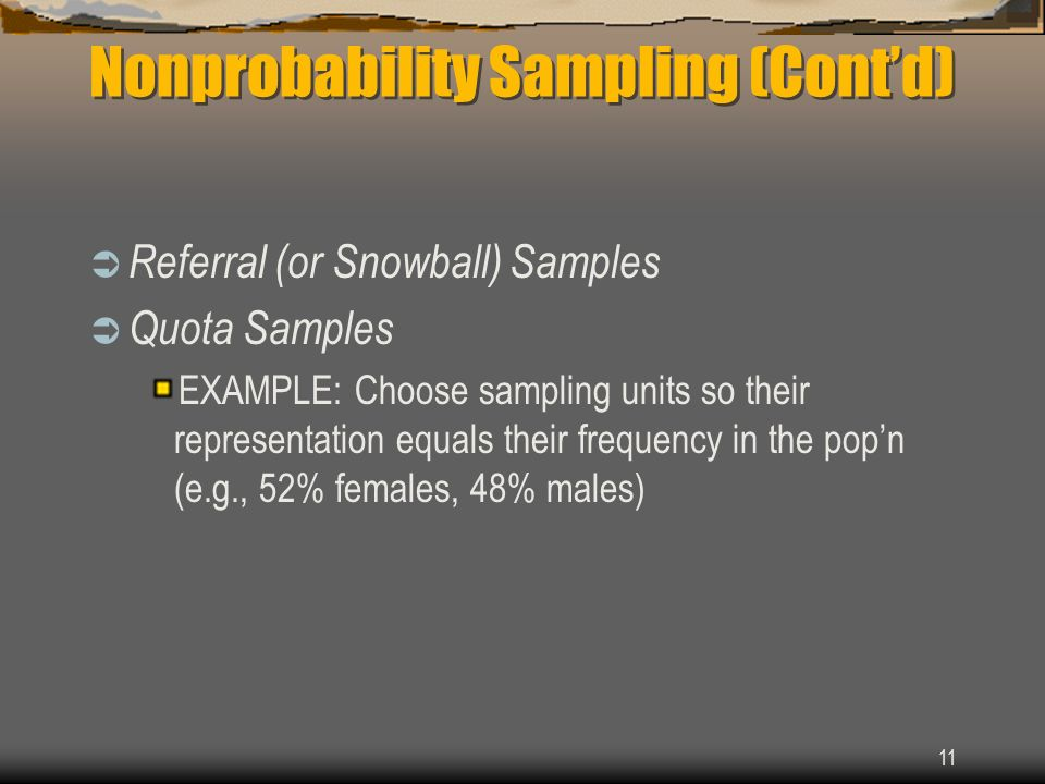 Nonprobability Sampling (Cont'd)