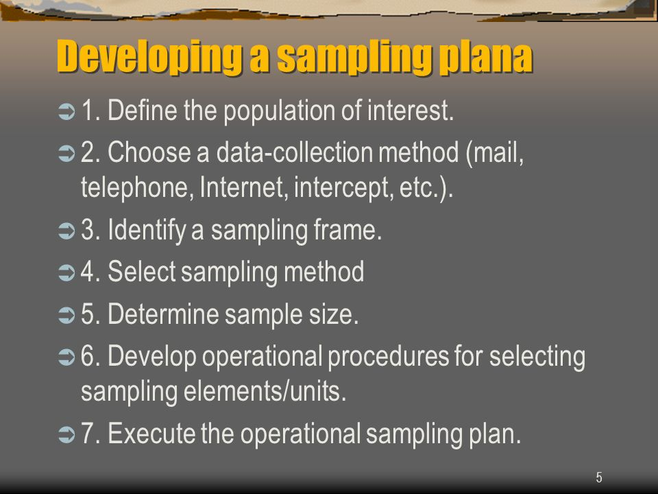 Developing a sampling plana