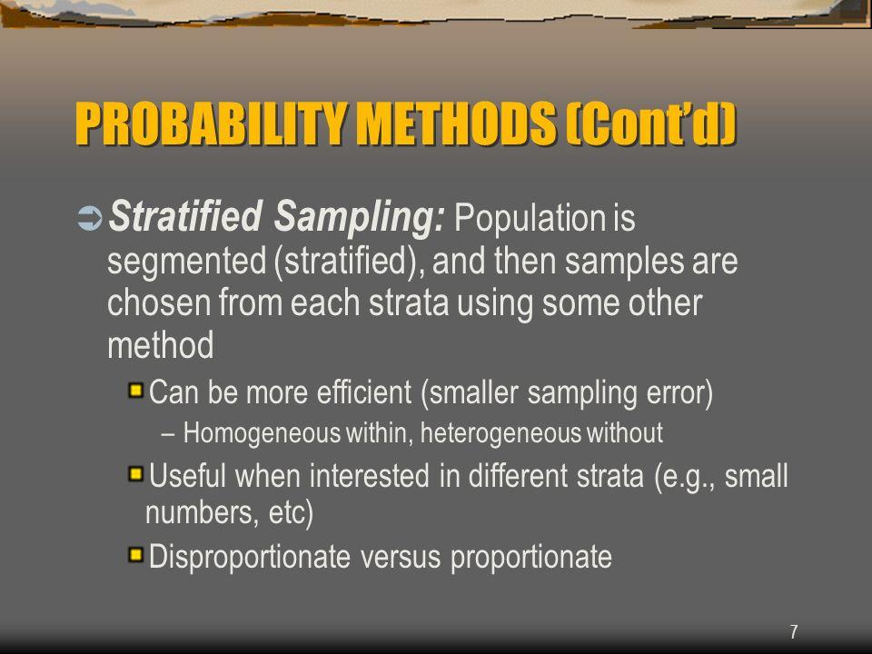 PROBABILITY METHODS (Cont'd)
