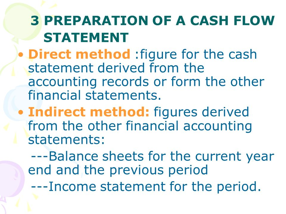 3 PREPARATION OF A CASH FLOW